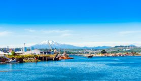 View of the Osorno volcano, Puerto Montt, Chile. Copy space for text stock image