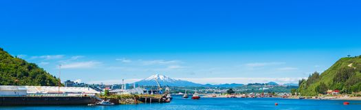 View of the Osorno volcano, Puerto Montt, Chile. Copy space for text.  stock images