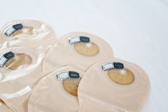 View on ostomy bags on white background - image stock photography