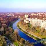 View from Ostrava City Hall tower on Ostravice river in Czechia. View from Ostrava City Hall tower on Ostravica river and Komenskeho Sady park, Photo taken in Stock Photo