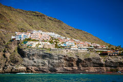 View ot the village Los Gigantes from the ocean Royalty Free Stock Image
