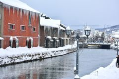 Otaru Canal on daytime with​ white snowy in​ the​ winter​ of​​ Hokkaido. royalty free stock images