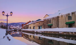 View of Otaru Canel in Winter season with sunset, Hokkaido - Jap Stock Images