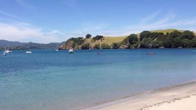 View of Otehei Bay tourist ferry pier on Urupukapuka Island in B stock video footage