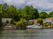 View of the other side of the river, residential houses located Royalty Free Stock Image