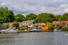 View of the other side of the river, residential houses located Royalty Free Stock Photography
