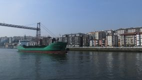 View from the other side of river to Portugalete. In the Basque country Spain Royalty Free Stock Photo