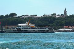 The view of the Ottoman period topkapi palace from the sea royalty free stock photos