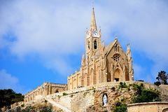 Our Lady of Lourdes church, Mgarr, Gozo. View of Our Lady of Lourdes church on the hillside, Mgarr, Gozo, Malta, Europe Stock Photos