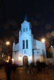 View of Our Lady of Sorrows Church in Riga at night Royalty Free Stock Photography