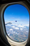 View out of airplane Airplane wing in flight Royalty Free Stock Photos
