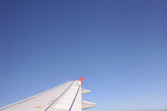 View out of airplane Airplane wing Royalty Free Stock Photography