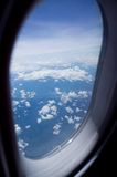 View out of airplane in flight Stock Photography
