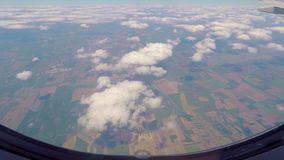 View out of airplane window stock footage