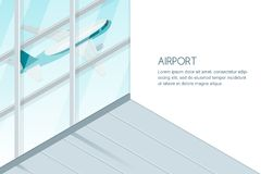 View out of airport terminal window on takeoff airplane. Flying jet plane, vector 3d isometric sytle illustration. Travel and tourism concept. Banner design Royalty Free Stock Photo