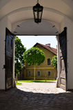 View out of a baroque gate Stock Images