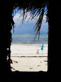 View Out of Beach Hut Stock Images