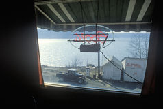View out of diner window,  Harrison, ID Royalty Free Stock Image