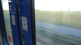 View out from a Door of a Train stock footage
