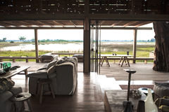 View out of a luxury safari lodge in Botswana Stock Image