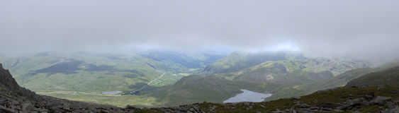 View out of mist on Glyder Fach in Snowdonia Royalty Free Stock Photography
