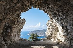 View out through the remains of Monolithos Castle Stock Image