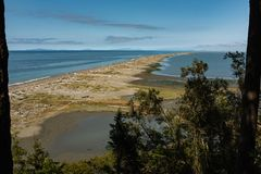 A view out to Dungeness Spit covered with driftwood on the north coast of the Olympic Peninsula in Washington along the. A view out to Dungeness Spit with tress stock photos