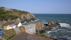 View out to sea from Cadgwith Cornwall England UK on the Lizard Peninsula stock video footage