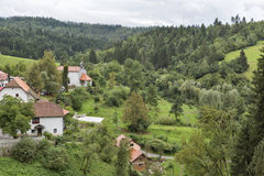 View out the window of Predjama Castle, Slovenia Royalty Free Stock Photos