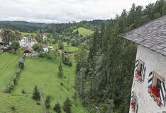 View out the window of Predjama Castle, Slovenia Royalty Free Stock Photography