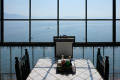 View out of the window of a restaurant over Lake Atitlan, Guatemala royalty free stock image