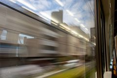 A view out from the window of a train. stock images