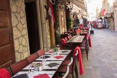 View of outdoor restaurant on street & x28;Monaco& x29; Stock Image