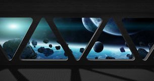 View of outer space from inside a space station Royalty Free Stock Photo