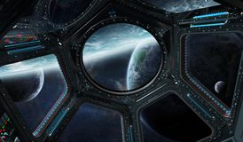 View of outer space from a space station window 3D rendering ele Stock Image