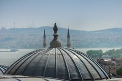 View of outer view of dome in Ottoman architecture. Roofs of Istanbul. Suleymaniye Mosque. Turkey. Stock Photos