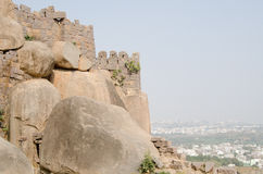 Golkonda Fort, Hyderabad. View of the outer walls of Golkonda Fort high above the city of Hyderabad, India Stock Photo
