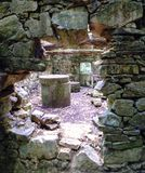 View from the outside of an old flour mill built of stone. detai. L of grinding stone in Galicia, Spaini Stock Image