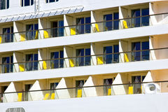 View outside passenger ship. View outside great passenger ship showing rooms and ship details Royalty Free Stock Image