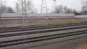 View outside the window while the train is moving. Moscow center ring MCC stock footage