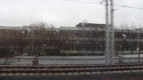 View outside the window while the train is moving. Moscow center ring stock footage