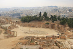 View of Oval Plaza in Jarash. Ruins in the north of Jordan Royalty Free Stock Photo