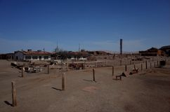 Humberstone Saltpeter Worksm in northern Chile. A view over the abandoned Humberstone saltpeter works. This abandoned nitrate town was extremely important for stock image