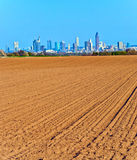 View over acres to the Skyline of Frankfurt Royalty Free Stock Photos