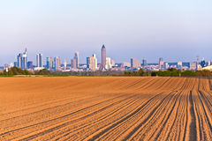 View over acres to the Skyline of Frankfurt Royalty Free Stock Images