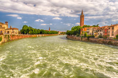 View Over Adige River in Verona, Italy Royalty Free Stock Photos