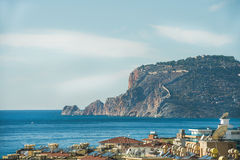 View over Alanya castle hill and Mediterranean sea, Turkey Stock Photo