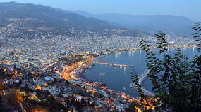 View over Alanya in the Evening Stock Photo