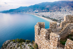 The view over Alanya under the sunset rays from the top of the Stock Image