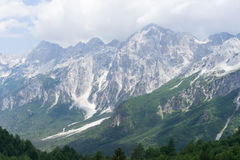 View over Albanian Alps from Valbona Pass. View over the beautiful Albanian alps, taken during a hike over the Valbona pass from the peak in the middle of the Stock Photo